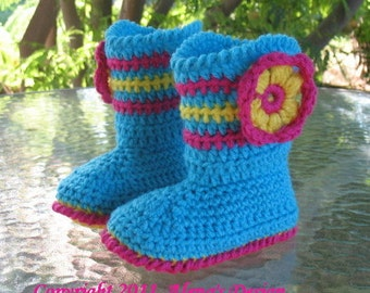 Crochet Pattern 031 - Toddler Booties Alicia  Flower Boots Slippers Crochet Patterns Girls Boys Children's Turquoise Red Boots Christmas