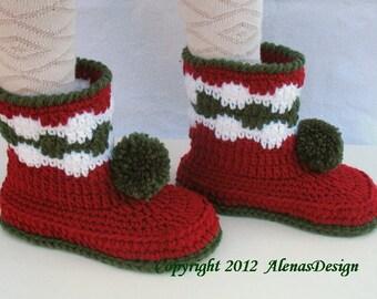 Crochet Pattern 066 - Crochet Booties Pattern for Childrens Booties - Crochet Pattern Boot - Boot Pattern Slipper Pattern Christmas Boots