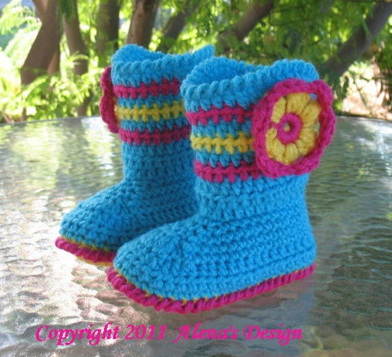 Crochet Pattern 031 - Toddler  Booties Alicia - Boots - Slippers - Girls - Boys - Children - Turquoise Boots - Red Boots Hat Mittens Flower