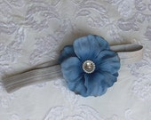 Beautiful Blue Flower with Rhinestone Center on a Light Grey Headband for Newborn and Baby Girls Perfect For Photos