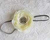 White Flower with Pretty Rhinestone Center on Thin Grey Headband for Newborn and Baby Girls Perfect for Photos
