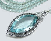 ART DECO STERLING Necklace Silver Filigree Aqua Crystals Old Hollywood Glam Wedding 1930s