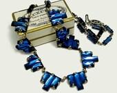1930 Vintage Art Deco Necklace Czech Glass Sapphire Blue Vauxhall Mirror Step Cut Crystals Flapper Chic