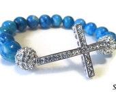 Blue Sideways Cross Gemstone Beaded Bracelet - POOL PARTY