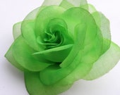 Hair Clip:  LIME GREEN Rose With Free Headband