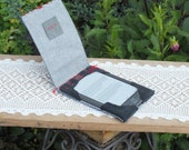 Embroidered Kindle CASE Blue Grey Red. Ready to ship.