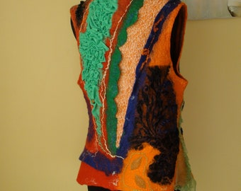Nuno felted vest     Orange, green and blue