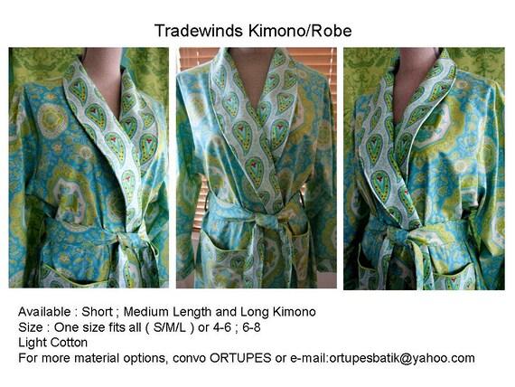Medium Length Kimono Robe - Bridesmaids Robe and Maternity Robe - Double Pockets