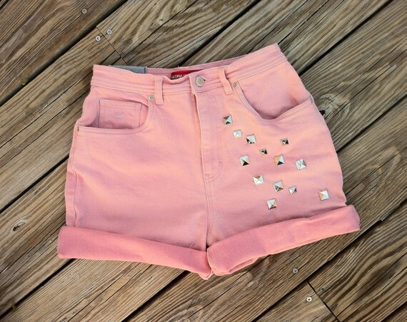 Jean Shorts High Waist VINTAGE Studded Peachy Rosy Pink Cutoffs Size US 8/9