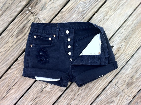 Jean Shorts High Waist Vintage LEVI 501 Button Fly Distressed Deep NAVY Blue Jean Cutoffs Size US 3/4