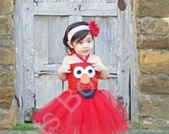 Infant-Red Elmo Tutu Dress Inspired