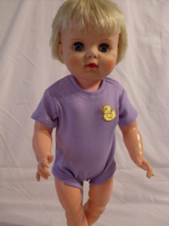 """19-20"""" Lavender Onesie with Yellow Duck"""