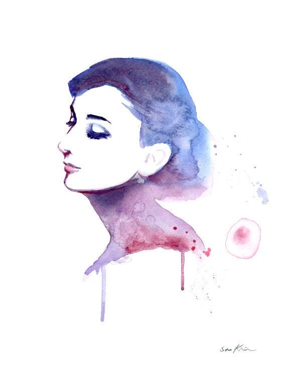 Audrey Hepburn Elegant Profile Watercolor Portrait Painting