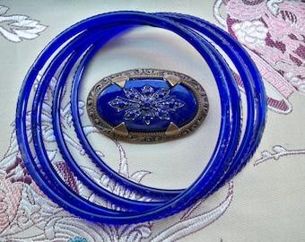 Vintage 1920s DECO Ultra-Marine Blue ETCHED Glass Brooch & Bracelet SET