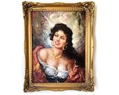 Original Oil Painting Gypsy Woman Lady Vintage 1950s 50s 1960s 60s Mid Century Antique Spanish Mediterranean Home Decor Art