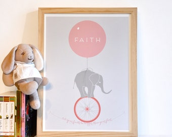 Let Your Faith Be Bigger Than Your Fear - Inspirational Elephant Monocycle Typography Art Print - pink green blue children decor
