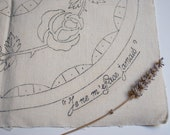 Vintage french stamped linen panel to embroider - vintage french transfer pattern