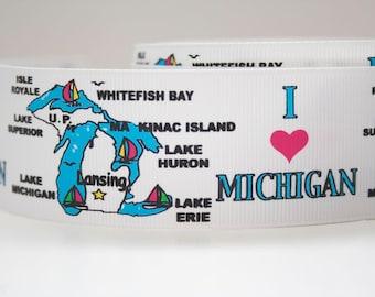 I Love Michigan Extra Wide 1.5in Grosgrain Ribbon - 1yd