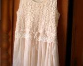 Vintage Shabby Chic  Edwardian Style Light Peach  Chiffon And Lace Tunic Mini Dress