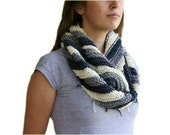 Striped Cowl Scarf in Grey and Creme with Fringes - Neck Warmer Scarf - Snood - Fall  Winter Fashion - Women Teens Accessories