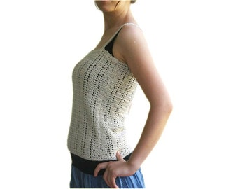 Beige Sweater with Straps - Crochet Top - Women and Teens Accessories - Spring Summer Fashion - Chic Elegant Tank - Neutral
