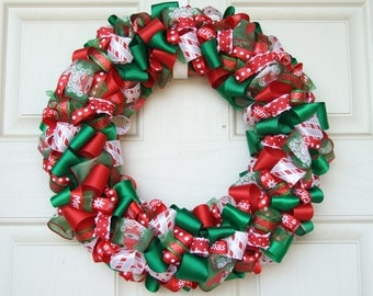 Christmas Ribbon Wreath - Christmas decoration home decor holiday wreath housewares ribbon wreath door decor