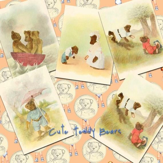 Vintage Teddy Bears Watercolor  Illustrations- Digital Collage Sheet (001)