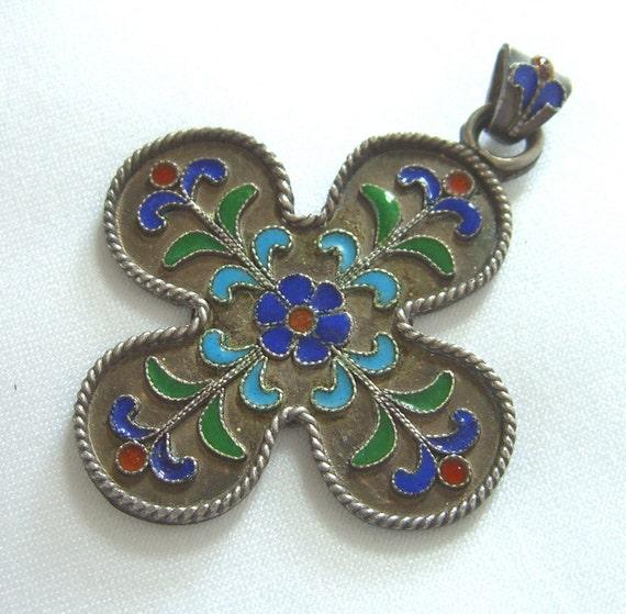 Antique Mexico Sterling Enamel Pendant Marked Antiqua 925 Spain Moorish Vintage Jewelry