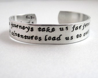 CS Lewis Quotation Bracelet - Some Journeys - 2-Sided Hand Stamped Aluminum Cuff - customizable