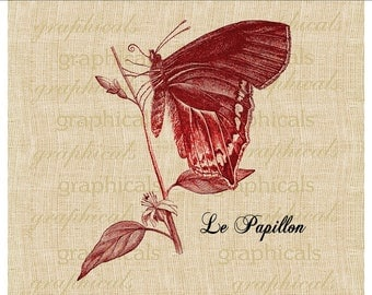 Butterfly clip art Le Papillon Instant graphic digital download image for Iron on fabric transfer pillow burlap tote bag decoupage No 427