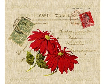 Christmas red poinsettia Carte Postale Paris Digital download image for iron on fabric transfer burlap decoupage pillows cards No. 1763