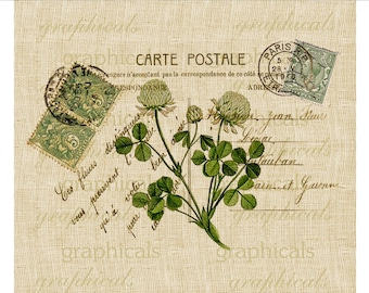 Instant digital download image Vintage Paris Carte Postale green clover Spring transfer to fabric paper burlap pillows tote bags No. 557