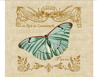 Vintage teal butterfly French instant clip art Digital download image for iron on fabric transfer burlap decoupage pillows cards No. 591