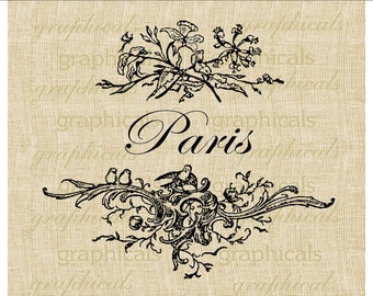 Paris digital download image Vintage flowers and birds Paris logo for transfer to fabric paper burlap tote bags pillows No. 480