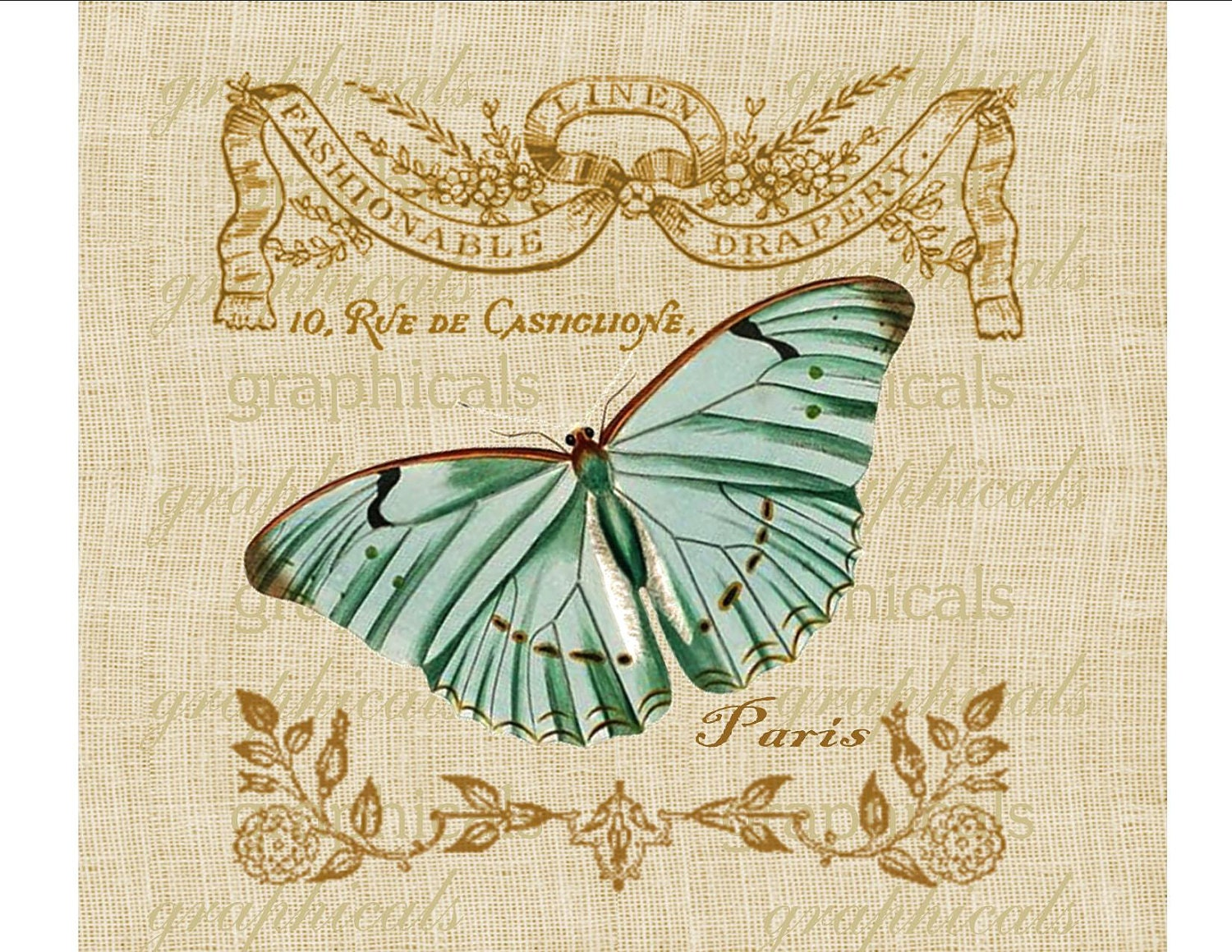 Vintage Teal Butterfly French Instant Clip Art Digital