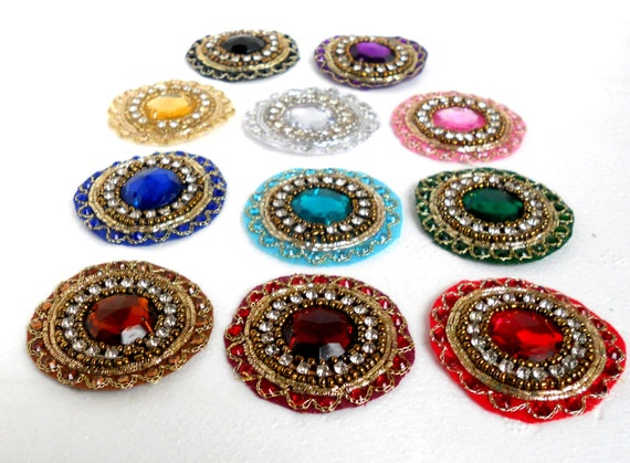 Rhinestone Applique. Indian Appliques. Kundan Mandala. Medallion. Round Appliques Handmade by Folk Stroke