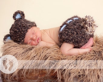 Baby Bear Hat & Diaper cover - Baby Boy Hat Made with Soft Mohair Blend Yarn  -  Baby Blue Ears and Big Fluffy Tail