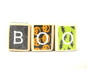HALLOWEEN Decor. Party. Wood Blocks. Boo. Fall. Autumn. Seasonal Decorations. Orange Black Green & Purple. pumpkins/ bats