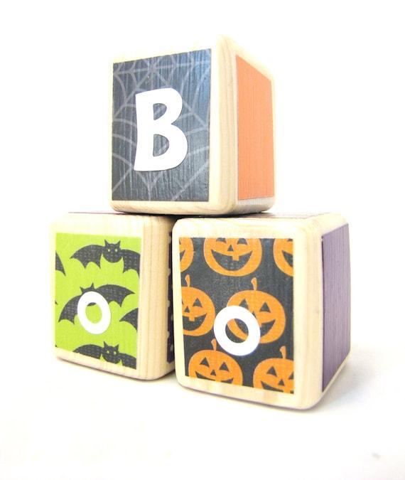 HALLOWEEN Decoration.  Party. Wood Blocks. Boo. Fall Autumn Seasonal Decorations. Orange Black Green & Purple Ready to Ship