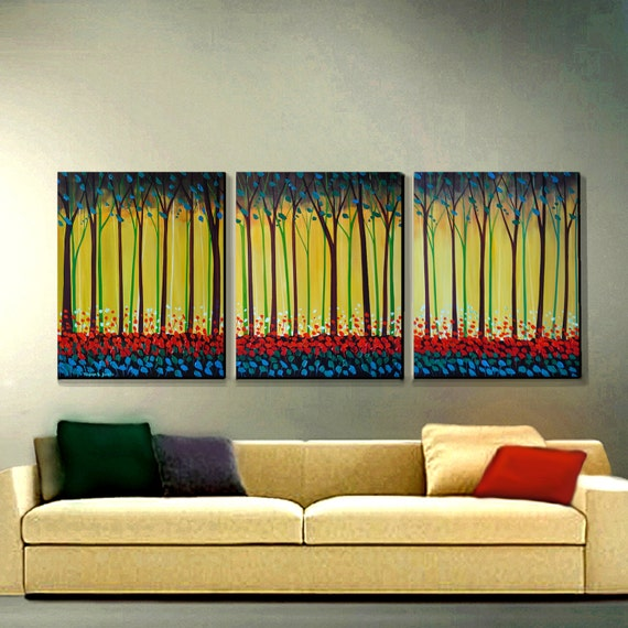ORIGINAL PAINTING Abstract Modern Landscape Red Poppies Large 3 Panel  30x72 Art By Thomas John By Thomas John