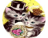 1 1/2 Fabric Cat Button - Marry Me PURRFECT Wedding Kittens Ready to Ship