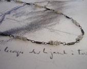 Rough Diamond and Bar Sterling Silver Necklace, Oxidized, Modern, Minimalist , Organic, Dainty, April Birthstone