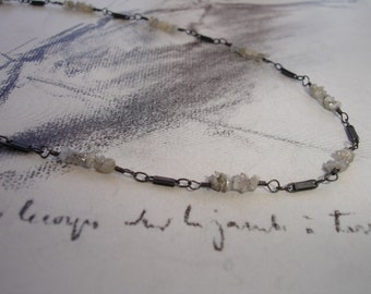 Rough Diamond and Bar Sterling Silver Necklace, Oxidized, Modern, Minimalist , Organic, Dainty, April Birthstone
