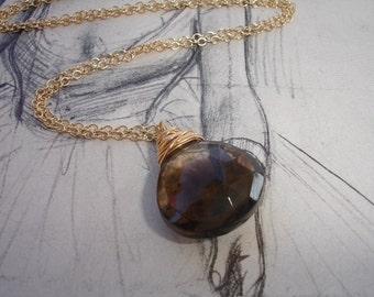 Smoky Quartz Briolette, Gold Necklace, Modern, Solitaire