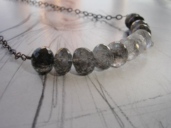 Black and White Rutillated Quartz, Sterling Silver Necklace, Oxidized, Modern, Elegant