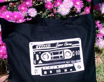 SALE cassette Sling Tote- Black Pink Print