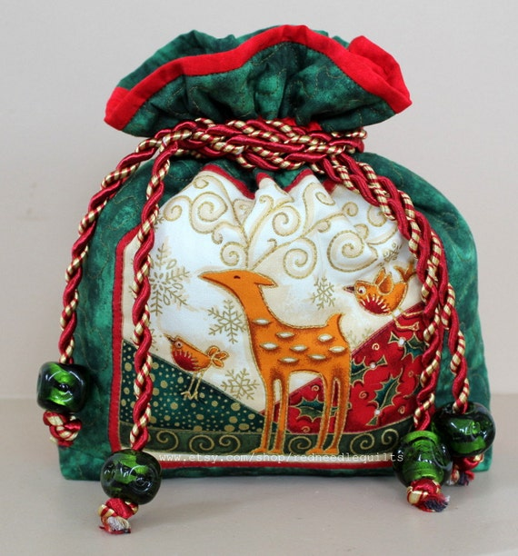 Drawstring bag quilted christmas gift