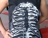 Rib cage skeleton black tank top shirt for women size S to XL ready to ship