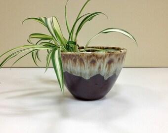 Brown Drip Open Sugar Bowl ceramic planter