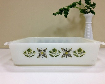Fire King Casserole Meadow Green Square Baking Dish
